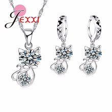 Woman Cut Cat Fashion Wedding Party Jewelry Set Clear Austrian Crystal 925 Sterling Silver Necklace Earrings Sets(China)