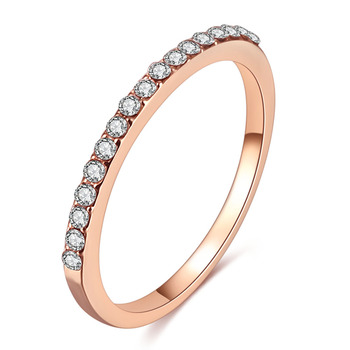 FAMSHIN Fashion Wedding Ring Crystal Zircon Rings Rose Gold Silver Color 1