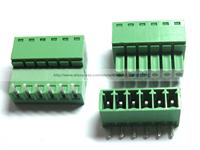 12 Pcs Screw Terminal Block Connector 3 5mm Angle 6 Pin Way Green Pluggable Type