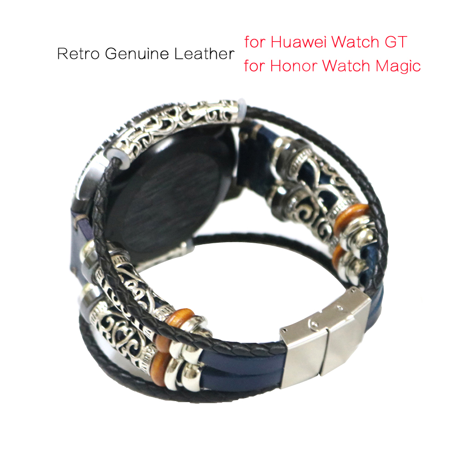 Watch Strap For Huawei Watch GT Smart Watch Retro Genuine Leather 22mm Replacement Band Wristband Bracelet For Honor Watch Magic