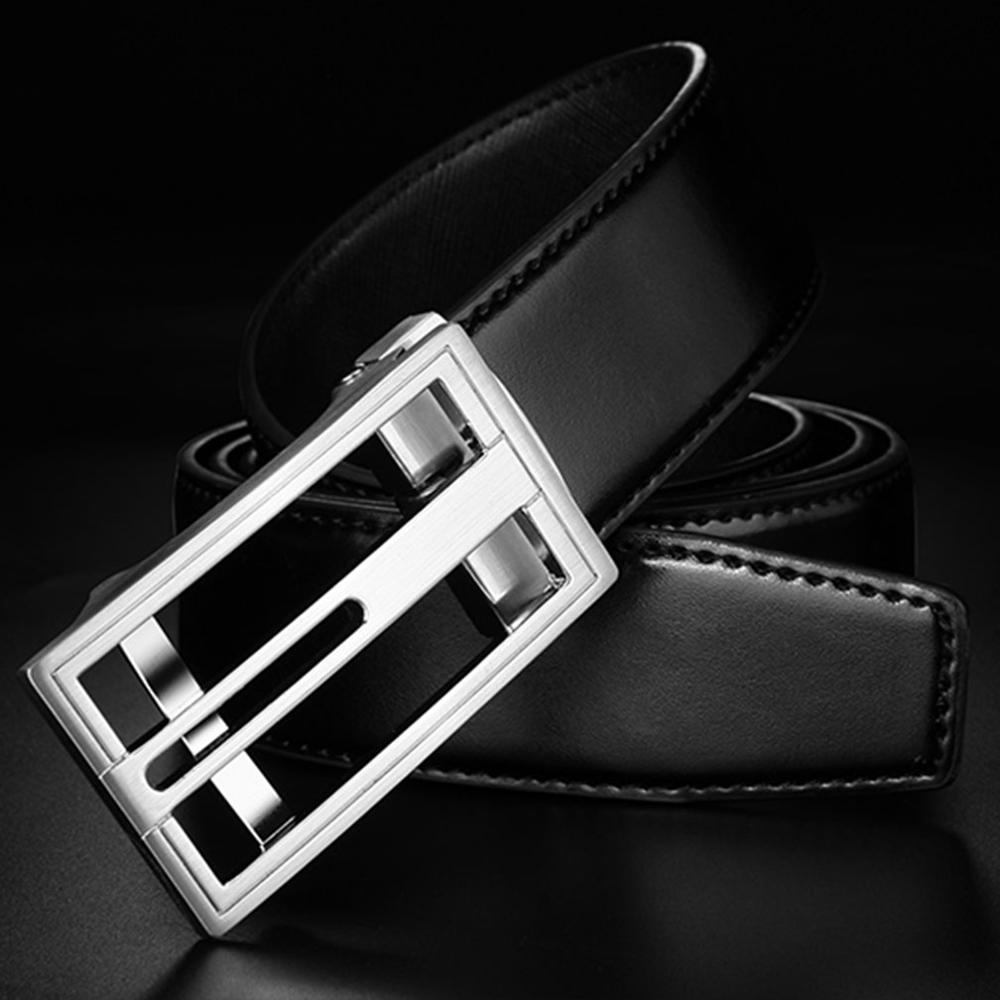 Hollowed Silvery Buckles Mens Belts Green Genuine Leather Ratchet Waist Straps