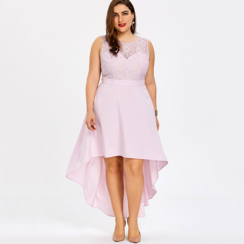 9a4096f0ed0 LANGSTAR Plus Size sexy party Dress Sleeveless High Low Hem Bridesmaid robe  Women sundress Lace Sheer long A Line Dress vestidos-in Dresses from  Women s ...