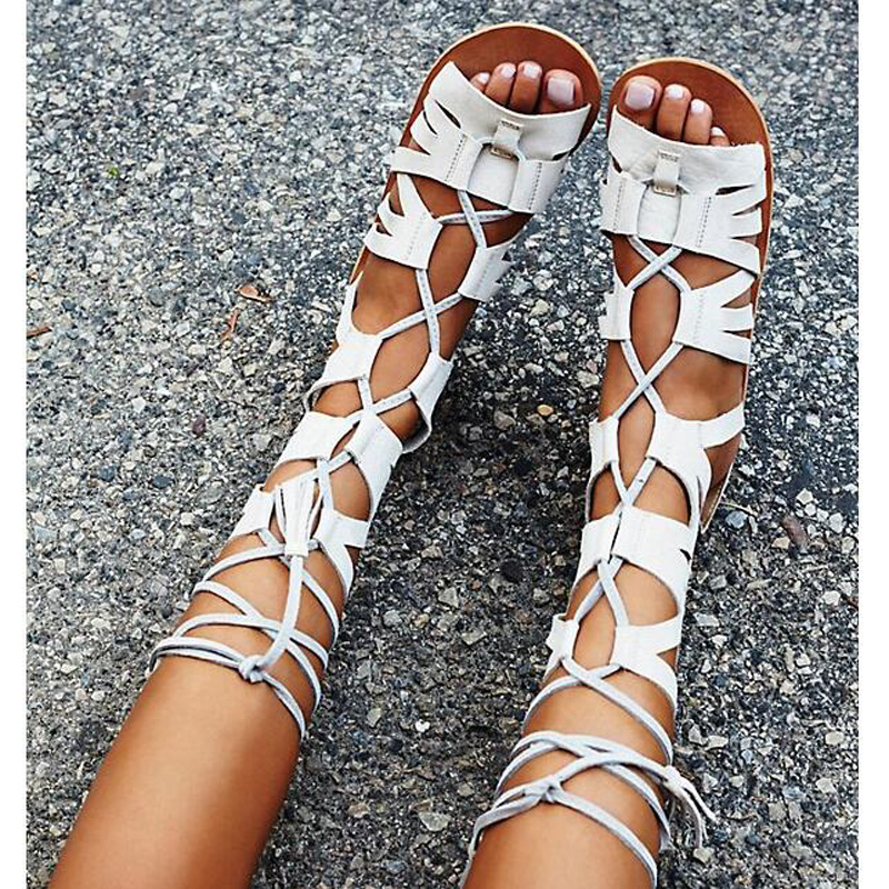2017 Latest New Open Toe Lace Up Flat Gladiator Strappy Sandals Fashion Fringed Sandal Boots Wedding Party Dress Shoes Woman top selling open toe high heel sandals luxury rhinestone embellished lace up sandal wedding party summer dress shoes women
