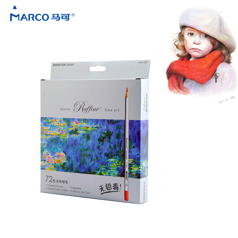 MarcoFine Art 72Colors Non-toxic Color Pencil lapis de cor Professional Drawing Sketches Colour Pencil School Supplies cute lovely color pencil drawing tutorial art book