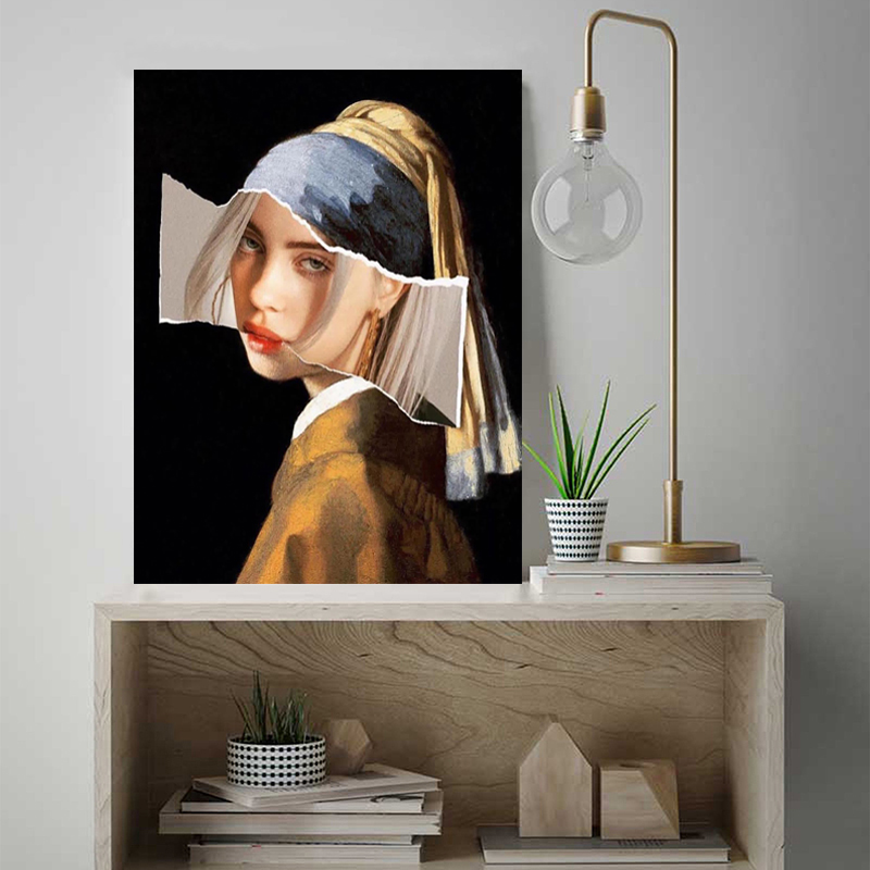 Girl With A Pearl Earring Billie Eilish Canvas Posters Prints Wall Art Painting Oil Decorative Picture Modern Home Decoration HD in Painting Calligraphy from Home Garden