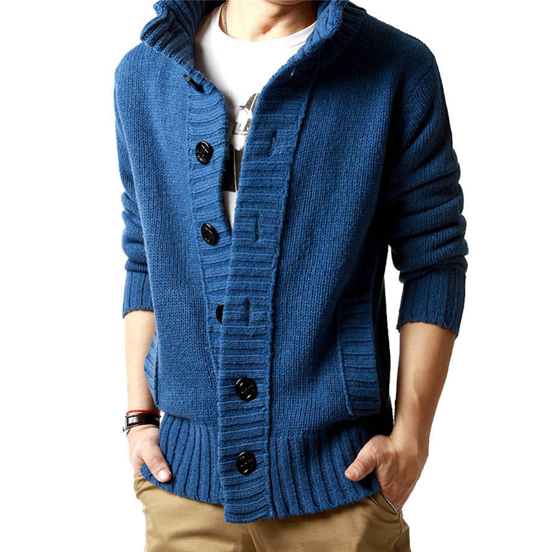 Mens New Casual Slim Fit Polo Cardigan Thick Button Knitted Shawl ...