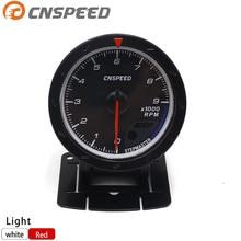 CNSPEED 60 мм Авто Тахометр об/мин 0-9000 об/мин красный и белый датчик освещения черный лицо об/мин Метр подходит для 4-6-8 цилиндров YC101356