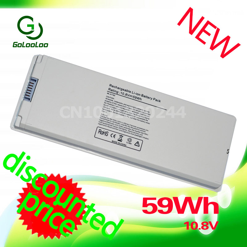 Golooloo 59Wh Silver laptop Battery for Apple A1185 A1181 For MacBook 13