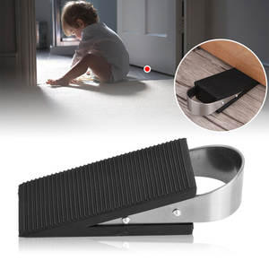 1 pcs Rubber Door Stopper For Home Children Office With Stainless Steel Han