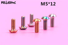 RISK 2x M5x12mm Titanium Alloy Bottle Cage Bolt MTB BMX Mountain Road Folding Bike Umbrella Head Screws Tyre Pump Holder Bolts