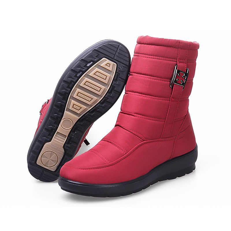 Frauen Stiefeletten 2019 Winter Stiefel Weibliche Warme Plüsch Schnee Stiefel Mittleren Alters Mutter Schuhe Solide Mode Wasserdichte Baumwolle Stiefel