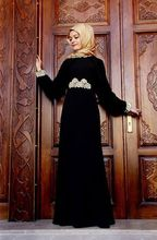 A-line With Hijab Black color Velvet Elegant High Collar Long Sleeve Casual Muslim Long Train Evening Dress