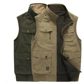 Plus Size M- 8XL Reversible Men Vest Spring Autumn 100% Cotton Muti Pockets Design Cargo Army Military AFS JEEP Style Clothing