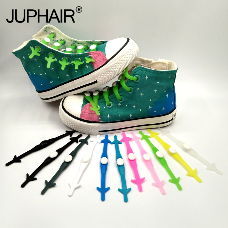 JUP 3 Sets (12 Root/Set) None Necktie Shoelaces Adult Children Unisex Men Elastic Silicone Shoelaces Casual Sport Lazy Shoelaces