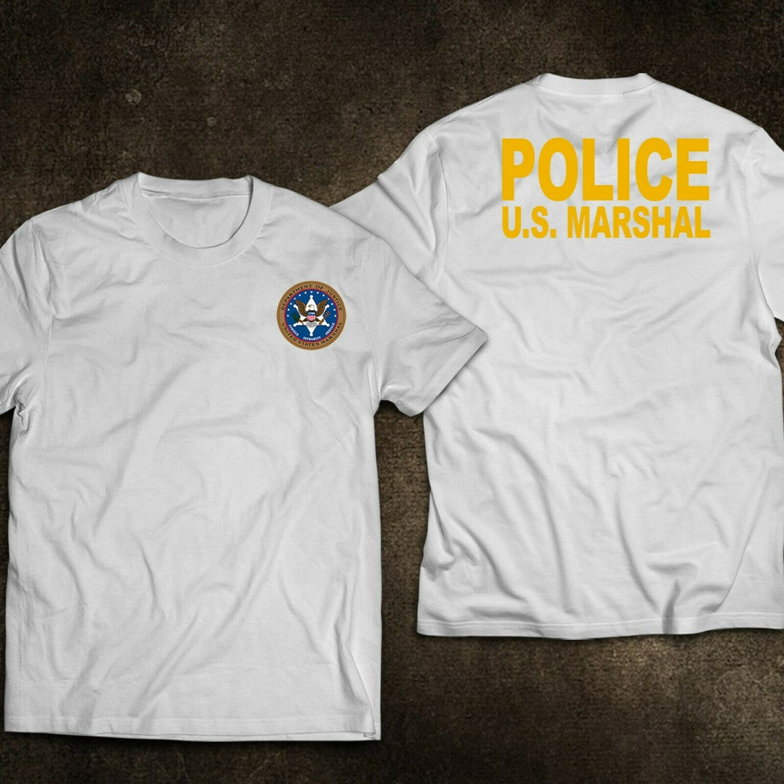 2019 Funny New Us United States Marshal Police Military Special Force Department T-Shirt Double Side Unisex Tee