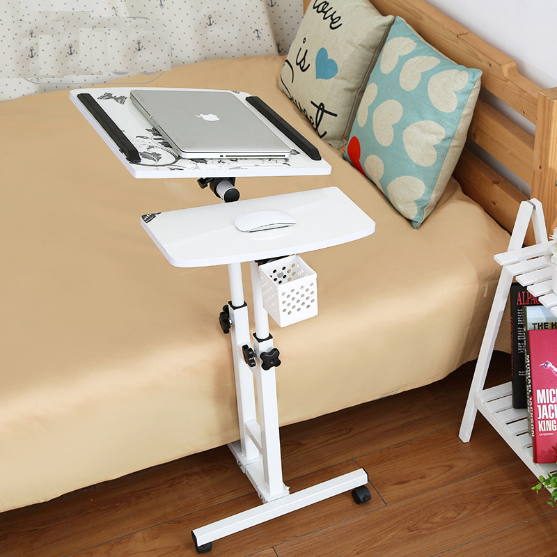 A Pink Notebook Computer Desk Bed Learning With Household Lifting Folding Mobile Bedside Table Writing Desktop Computer Desk Furniture