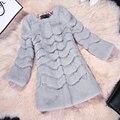 Female Plus Size Solid O neck Full Sleeve Full Pelt Thick Warm Medium Rabbit Fur Coat Woman Winter Cardigan Fur Outerwear