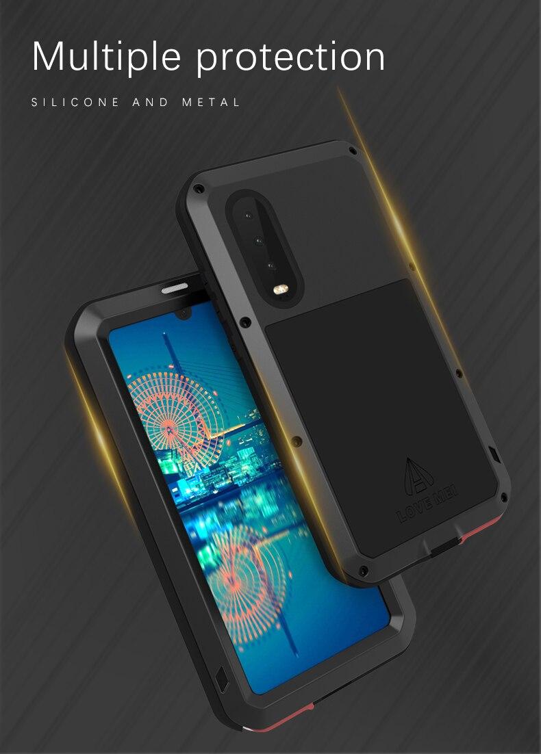 Love Mei étui pour Huawei P30 étanche en métal coque antichoc pour Huawei P30 Pro P30 coque de Protection en aluminium P30 Gorilla Glass