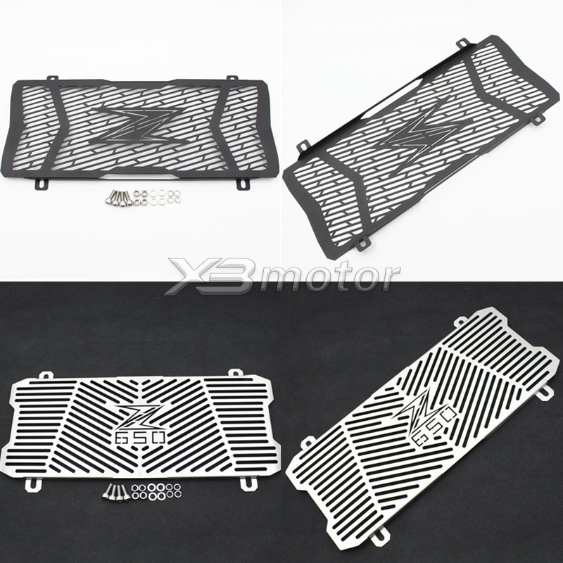 For Kawasaki Z650 Z 650 2017 17 Motorcycle Black Silver High Quality Stainless Steel Radiator Guard