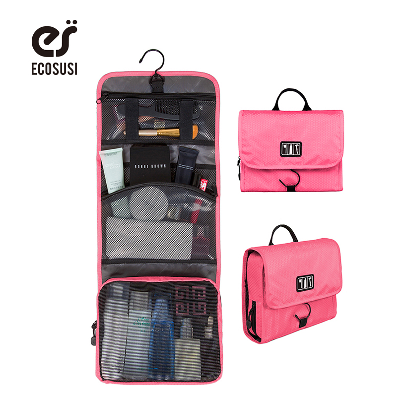 ECOSUSI New Travel Pouch Waterproof Portable Toiletry Bag Women Cosmetic Organizer Pouch Hanging Cute Wash Bags Makeup Bag multifunctional women makeup storage bag travel pouch hanging toiletry organizer