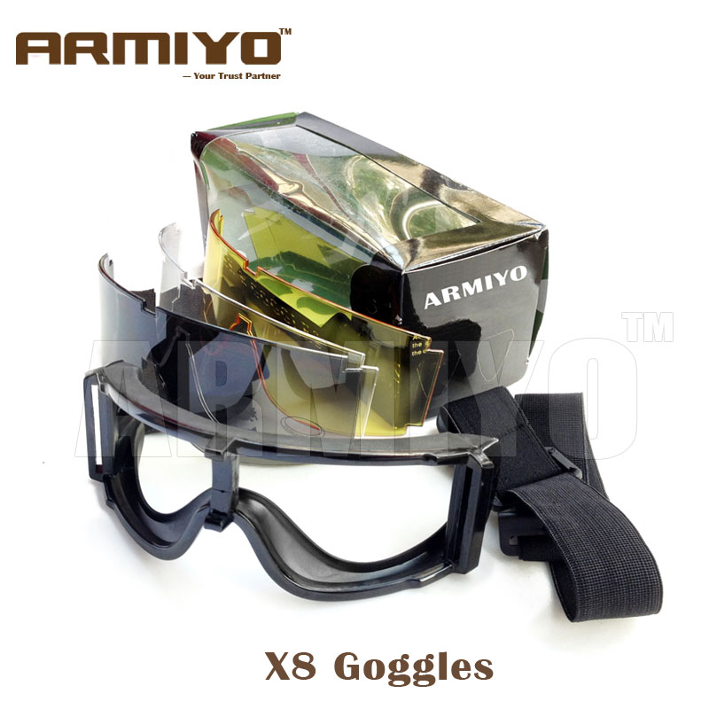 Armiyo X8 Goggles Ballistic Antifog Anti fog Protection Eyewear Glasses for Hunting Airsoft Surfing Skiing
