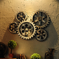 Nordic Retro Industrial 5pcs Wooden Gear 3D Wood Wall Hanging Decoration Bar Dining Room Cafe Steampunk Home Metal Garden Decors
