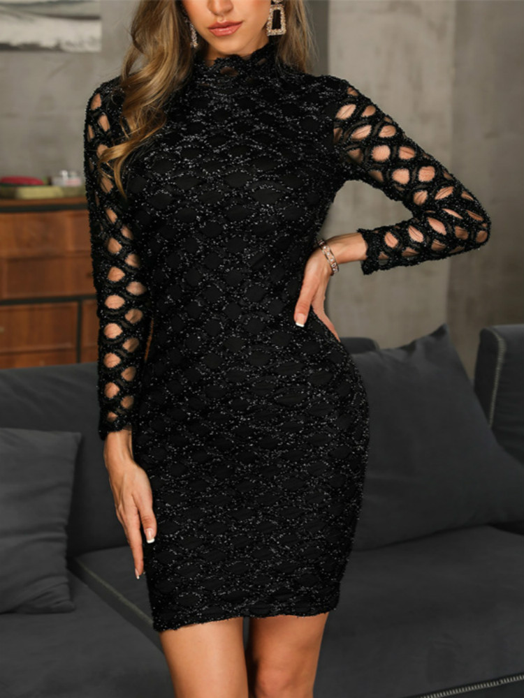 Women Dress Evening Gown Black Long Sleeve Sexy Elegant 1