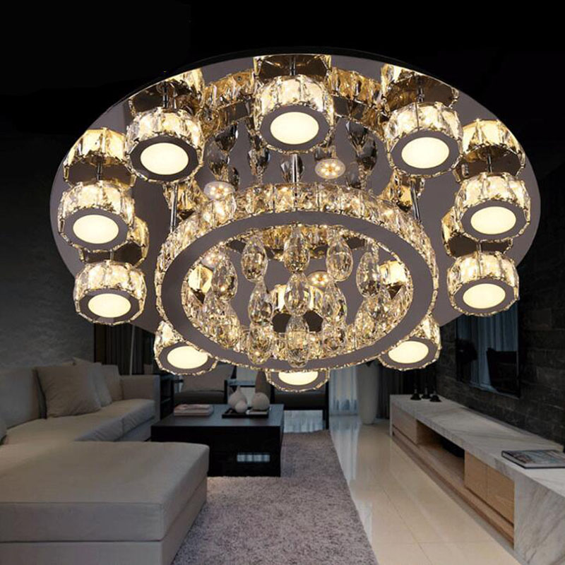 Modern minimalist led crystal ceiling lamp round creative led living room bedroom lamps modern line cutting led crystal lighting creative round ceiling led lamp bedroom lamp modern minimalist living room dining lamps