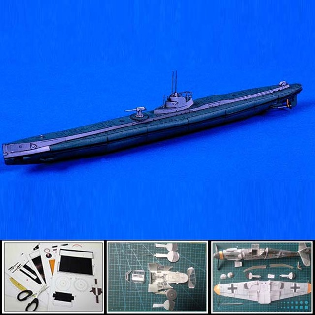 US $6 99 |Free shipment Paper model battleships German submarine U 35 1:250  scale/ 26cm long 3d puzzles diy papercraft handmade models-in Model