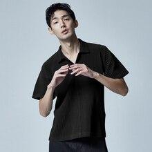 MIYAKE pleated short sleeve T-shirt spring and summer folded Lapel bottom shirt  free shipping