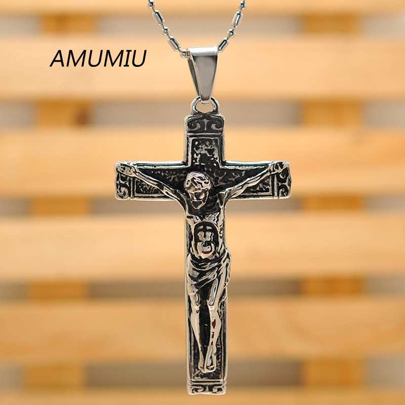 AMUMIU jesus cross with chains Stainless steel mens jewelry crucifix - Fashion Jewelry - Photo 3