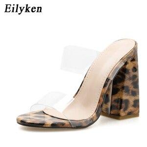 Image 2 - Eilyken seksi PVC şeffaf leopar tahıl bayanlar terlik yaz moda parti yüksek topuklu ayakkabı gladyatör slaytlar sandalet kadın