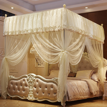 Beige Pink Romantic Lace Luxury Palace Style Three-door Square Floor-standing Stainless Stee Mosquito Net Bedding Set