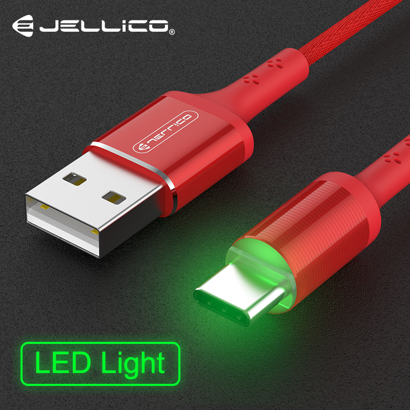 Jellico LED Light Type C USB Cable For Samsung Galaxy S9 USB C Cable Type-C Fast Charging Data Cable for Huawei Xiaomi Mi6 Cord image