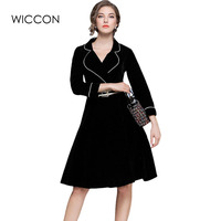 High Quality Autumn Winter Women Velvet Slim Dress England Style Turn Down Collar Warm Dresses Women