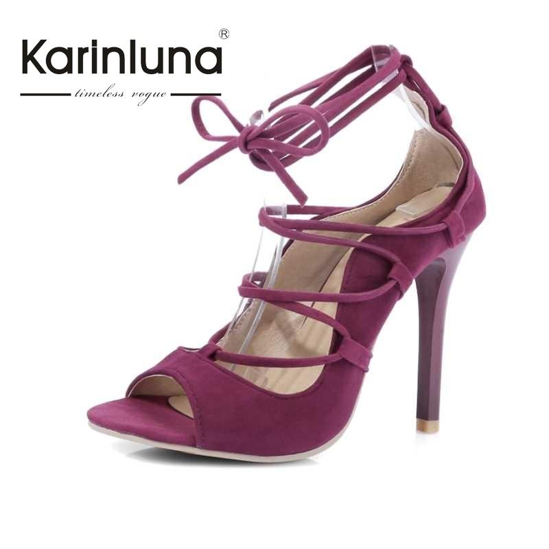 ФОТО KARINLUNA Hot Ladies Footwear Women Lace Up Thin High Heel Summer Shoes Woman Flock Upper Open Toe Less Platform Ssandals