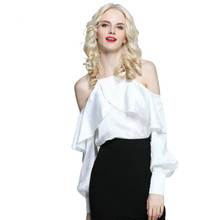 Runway 2017 Summer Women's Blouse Sexy Slip Off Shoulder Camis Female Shirt Party Top Women Blouses Solid White Pink Black Color