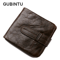 GUBINTU Genuine Leather Purse Vintage Men Wallet Multi Card Bit Pumping Belt Short Wallet Men Cow