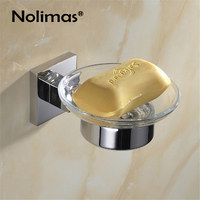 SUS 304 Stainless Steel Bathroom Soap Holder With Glass Toilet Modern Smooth Square Mirror Polished Soap