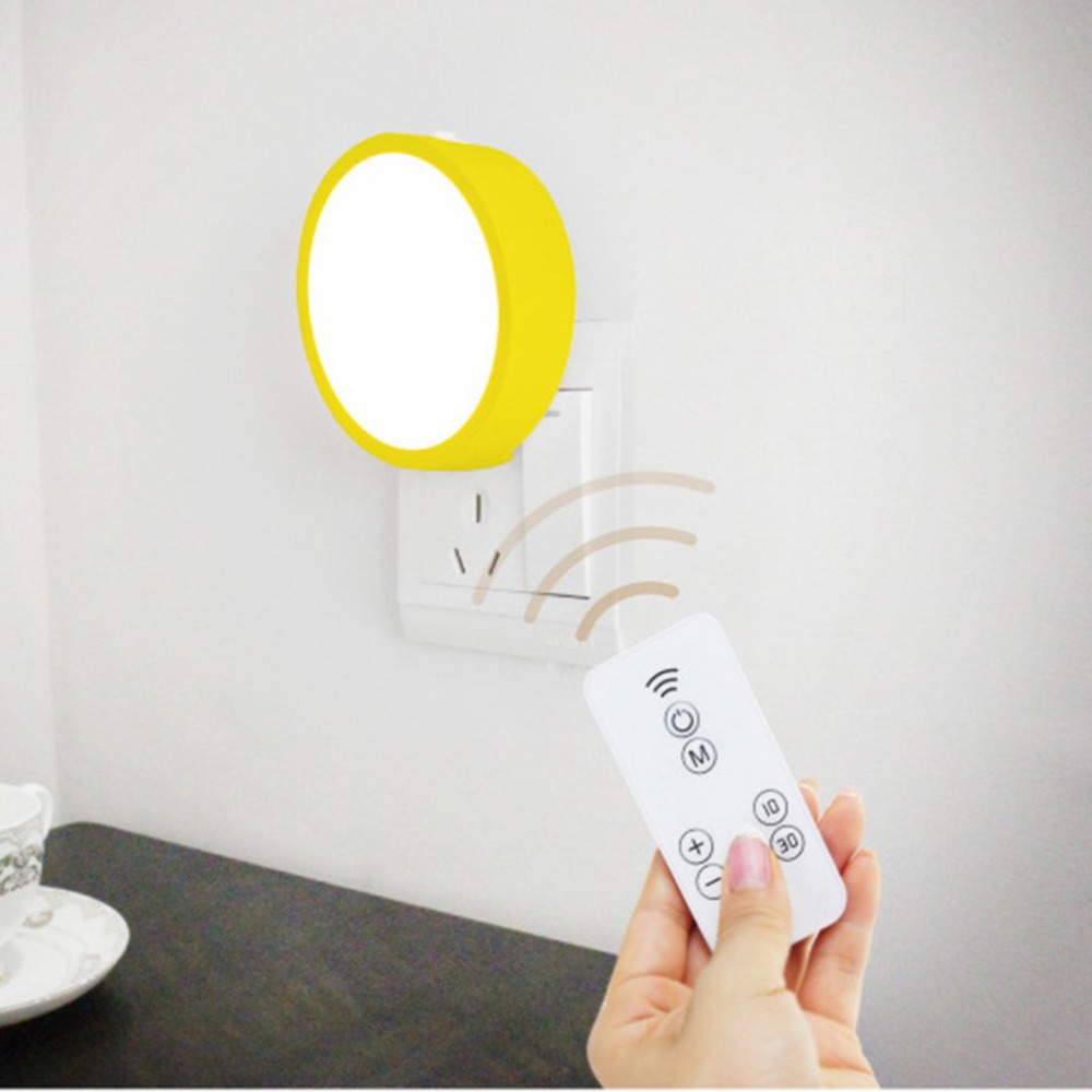 Creative 8 LED Light IR Remote Control Night Light Round Shape Decorative Light Energy-saving Wall Lamp For Bedroom