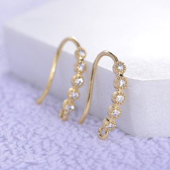 French Wire Earrings Hooks Micro Paved Cubic Zirconic Ear Wire Findings DIY Quality 24K Gold Color Metal Earrings Making