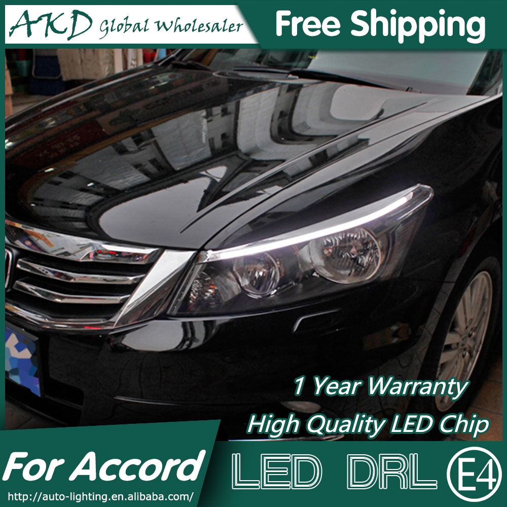 AKD Car Styling LED DRL for Accord 2012-2014 Eye Brow Light LED External Lamp Signal Parking Accessories akd car styling led drl for kia k2 2012 2014 new rio eye brow light led external lamp signal parking accessories