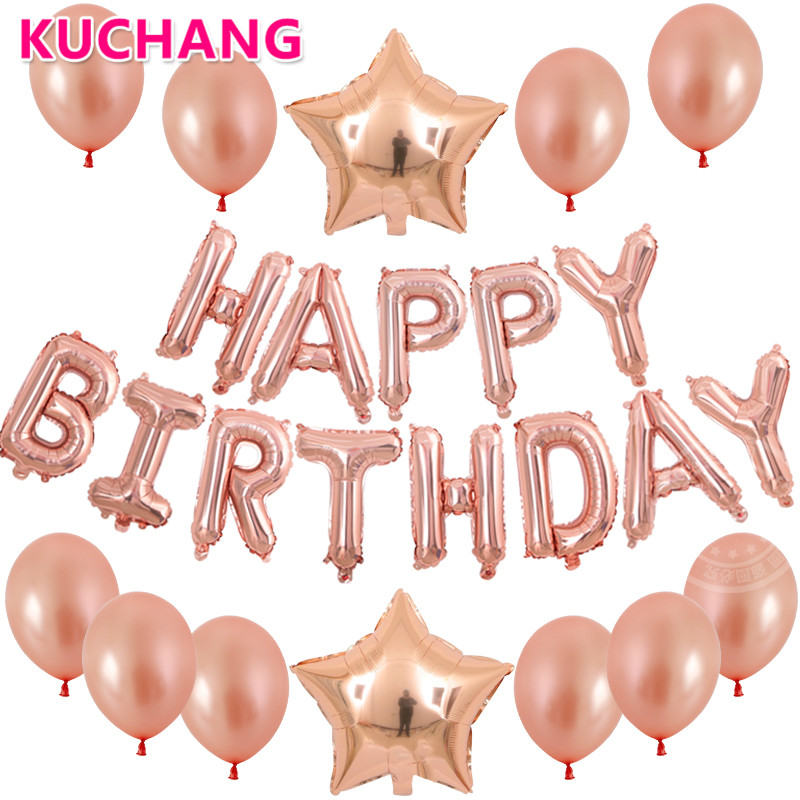 25pcs/lot 16inch Rose Gold Happy Birthday Letters 18inch Stars Foil Latex Balloons Baby Shower Girls Birthday Party Decor Globos