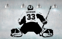 Hockey Goalie Player Wall Art Decal Sticker Choose Name Number Personalized Home Decor Wall Stickers For