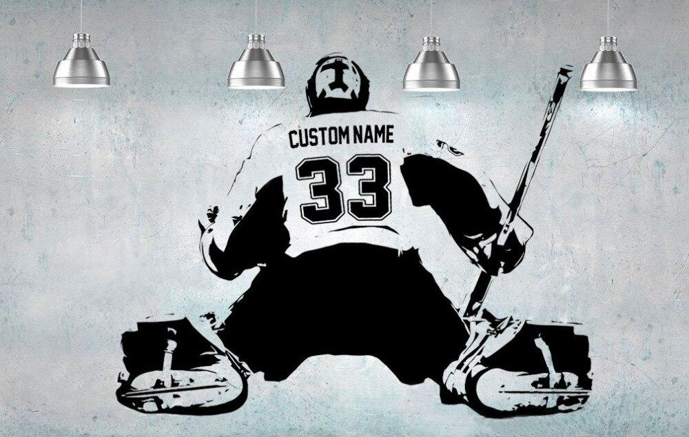 Portero de Hockey jugador arte de la pared de la etiqueta engomada del número de nombre personalizado casa decoración de la pared de habitación de los niños pegatinas dormitorio chico A184