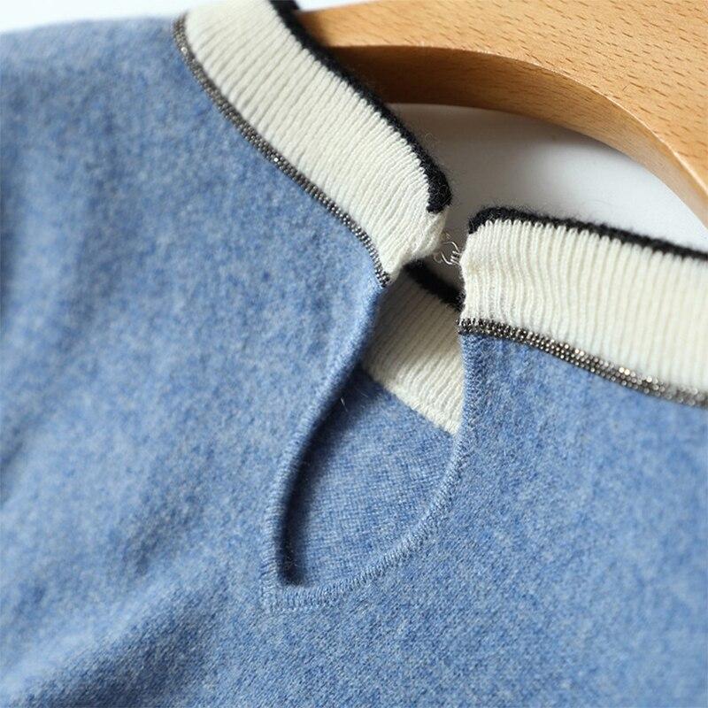 Femme Bleu Shuchan 100 Pulls Pour Cashmere Femmes gris De Tricot À Longues Manches Pull Luxe Nouveauté Mode 2018 En 5BBTH