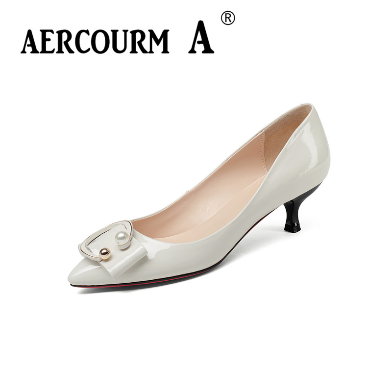 Aercourm A 2018 Women patent leather Fashion Shoes Ladies Shoes thin low Heel Pumps Female Metal Buckle Brand Shoes Z346 aercourm a 2018 new women genuine leather shoes ladies white pink dress solid shoes thin heel women pointed head pumps fde1121
