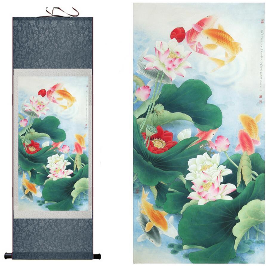 Tradiční hedvábné umění malba Ryby hrající ve vodě Čínské umění malba Domácí kancelář dekorace Čínská malba