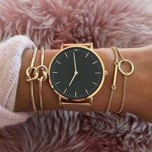 3 шт./модный простой браслет двойной узел петля металлический цепной браслет Богемия Ретро ювелирные аксессуары для женщин