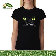 Black Cat Green Eyes Animals Women T-shirt XS-3XL NewStreetwear Funny Print Clothing Hip-Tope Mans T-Shirt Tops Tees Hot Sale floral skull women t shirt s 3xl newstreetwear funny print clothing hip tope mans t shirt tops tees hot sale men t shirt fashion